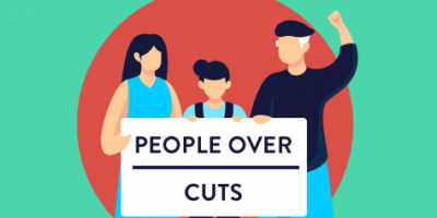 An image of a family holding a sign that reads people over cuts